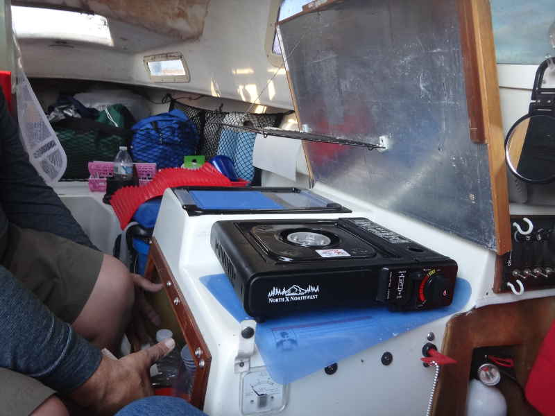 A WW Potter 19 Is Very Nice Expeditioning Boat Tom Had Made Some Brilliant Modifications Including This Galley We Ate On Shore That Night